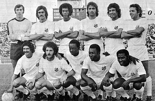 1973 - Cejas, Vicente, Carlos Alberto Torres, Marinho Peres, Clodoaldo e Turcão - Manoel Maria, Brecha, Eusébio, Pelé e Edu.